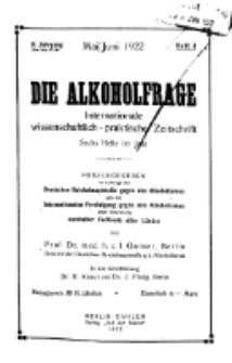Die Alkoholfrage, 1922, Jg. XVIII, H. 3.