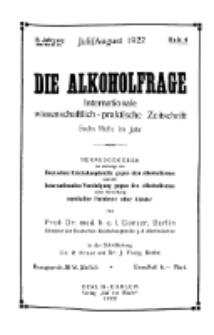 Die Alkoholfrage, 1922, Jg. XVIII, H. 4.