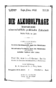 Die Alkoholfrage, 1922, Jg. XVIII, H. 5/6.