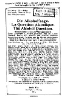 Die Alkoholfrage, 1911, Jg. VII, H. 3