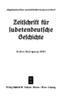 Zeitschrift für sudetendeutsche Geschichte, Jg. 1. 1937, Bd. 1.