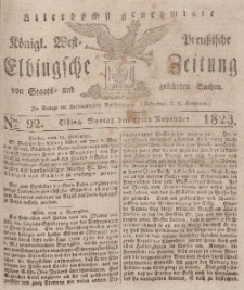 Elbingsche Zeitung, No. 92 Montag, 17 November 1823