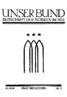 Unser Bund: Älterenblatt des Bundes deutscher Jugendvereine, Jg. 14. März 1925, Nr 3.