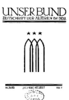 Unser Bund: Älterenblatt des Bundes deutscher Jugendvereine, Jg. 14. Juli 1925, Nr 7.