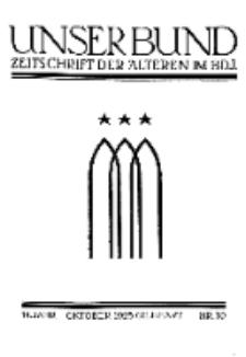 Unser Bund: Älterenblatt des Bundes deutscher Jugendvereine, Jg. 14. Oktober 1925, Nr 10.
