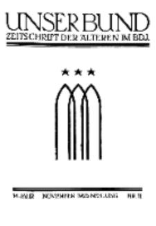 Unser Bund: Älterenblatt des Bundes deutscher Jugendvereine, Jg. 14. November 1925, Nr 11.