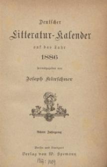 Deutscher Literatur-Kalender, Jg. 8. 1886