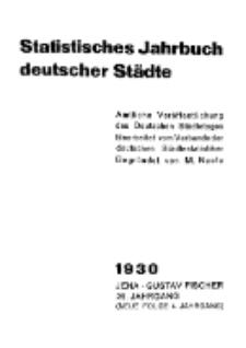 Statistisches Jahrbuch deutscher Städte, 1930