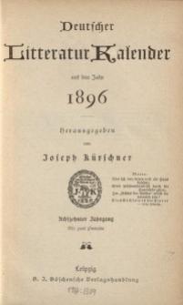 Deutscher Literatur Kalender, Jg. 18. 1896