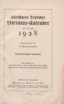 Kürschners Deutscher Literatur=Kalender, Jg. 44. 1928