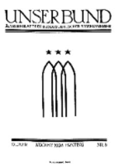 Unser Bund: Älterenblatt des Bundes deutscher Jugendvereine, Jg. 17. August 1928, Nr 8.