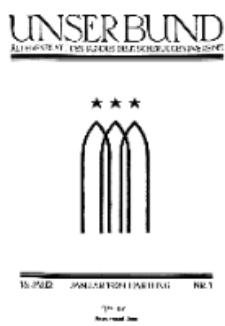 Unser Bund: Älterenblatt des Bundes deutscher Jugendvereine, Jg. 18. Januar 1929, Nr 1.