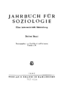 Jahrbuch für Soziologie. Eine internationale Sammlung, 1927, Bd. 3