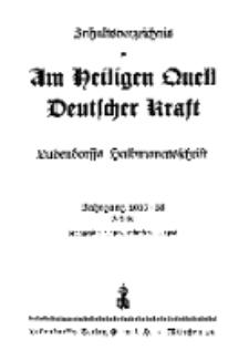 Inhaltsverzeichnis zu Am Heiligen...1937-1938