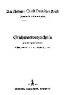 Am Heiligen Quell Deutscher Kraft: Stichwortverzeichnis 1938/1939