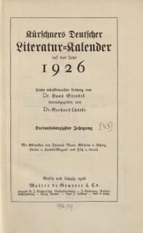 Kürschners Deutscher Literatur=Kalender, Jg. 43. 1926