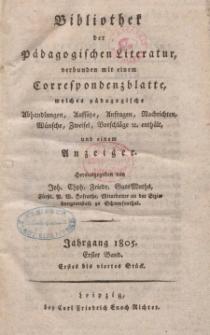 Bibliothek der pädagogischen Literatur, 1805, Bd. 1.