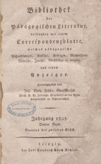 Bibliothek der pädagogischen Literatur, 1805, Bd. 3.