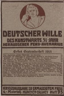 Deutscher Wille, September 1918, H. 23.