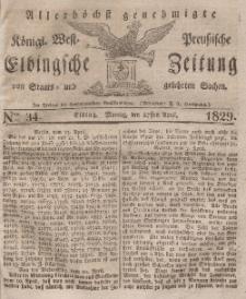 Elbingsche Zeitung, No. 34 Montag, 27 April 1829