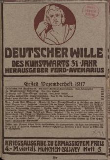Deutscher Wille, Dezember 1917, H. 5.