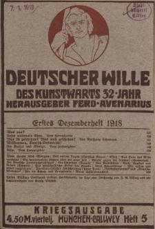 Deutscher Wille, Dezember 1918, H. 5.