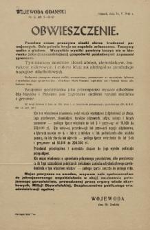 Obwieszczenie Wojewody Gdańskiego w sprawie zwalczania gorzelnictwa w 1946 roku – afisz