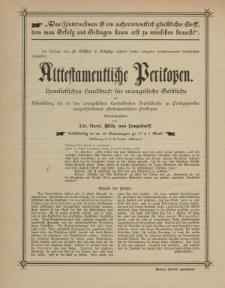 Alttestamentliche Perikopen. Homitetisches Handbuch für evangelische Geistliche...[ulotka]