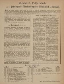Revidierte Lutherbibeln von der Privilegierten Württembergischen Bibelanstalt in Stuttgart [ulotka]