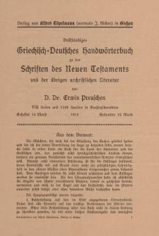 Verlag von Alfred Töpelmann (vormals J. Ricker) in Gießen - Vollständigen Griechisch-Deutschen Handwörterbuchs... [ulotka]