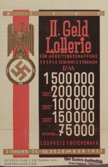 II. Geld Lotterie für Arbeitsbeschaffung 283058 Gewinne U.2 Prämien RM 1 500 000....[ulotka]