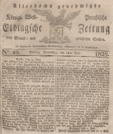 Elbingsche Zeitung, No. 49 Donnerstag, 18 Juni 1829