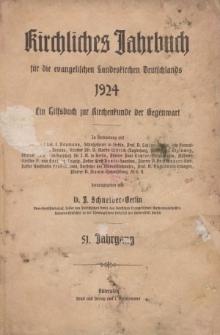 Kirchliches Jahrbuch, 51. Jahrgang, 1924