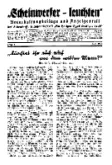 """""""Scheinwerfer-Leuchten""""...Am Heiligen Quell Deutscher Kraft, 5. April 1938, Folge 1."""
