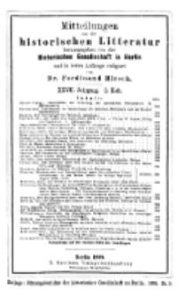 Mittheilungen aus der historischen Litteratur, 27. Jg. 1899, H. 3.