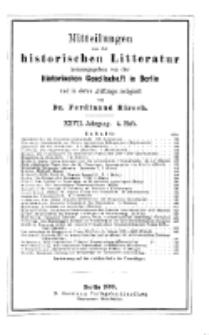 Mittheilungen aus der historischen Litteratur, 27. Jg. 1899, H. 4.