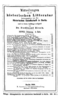 Mittheilungen aus der historischen Litteratur, 28. Jg. 1900, H. 2.
