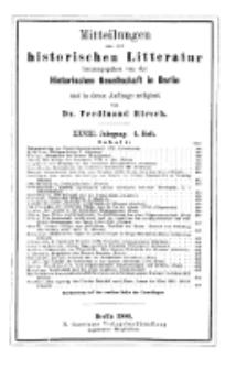 Mittheilungen aus der historischen Litteratur, 28. Jg. 1900, H. 4.