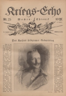Kriegs-Echo: Wochen=Chronic, 29. Januar 1915, Nr 25.