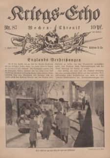 Kriegs-Echo: Wochen=Chronic, 7. April 1916, Nr 87.