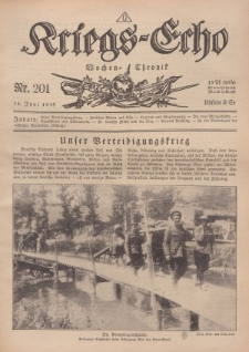 Kriegs-Echo: Wochen=Chronic, 14. Juni 1918, Nr 201.