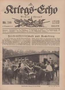Kriegs-Echo: Wochen=Chronic, 27. September 1918, Nr 216.