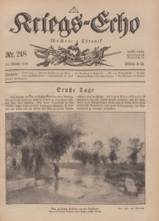 Kriegs-Echo: Wochen=Chronic, 11. Oktober 1918, Nr 218.