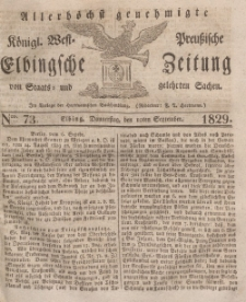 Elbingsche Zeitung, No. 73 Donnerstag, 10 September 1829