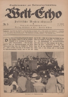 Welt Echo: Politische Wochen=Chronic, 17. Januar 1919, Nr 3.
