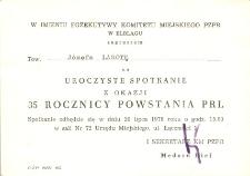 35 Rocznica Powstania PRL - zaproszenie na spotkanie