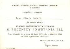 XXXV Rocznica Powstania PRL - zaproszenie na wiec