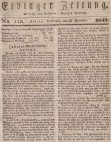 Elbinger Zeitung, No. 115 Donnerstag, 28. September 1843
