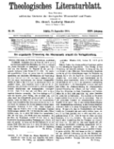 Theologisches Literaturblatt, 25. September 1914, Nr 20.