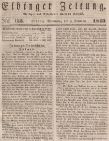 Elbinger Zeitung, No. 133 Donnerstag, 9. November 1843